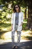 navy printed Nordstrom pants - ivory boyfriend Gap cardigan