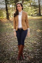 camel JCrew blazer - dark brown riding boots JCrew boots - ivory JCrew blouse
