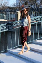 blue denim vest American Eagle vest - crimson maxi skirt Zara skirt