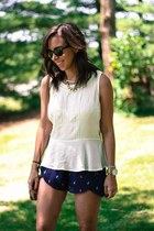 navy BCBGeneration shorts - ivory Forever21 top