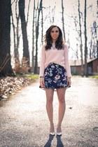 light pink wool Gap sweater - navy floral Zara skirt