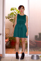 black H&M boots - teal H&M dress