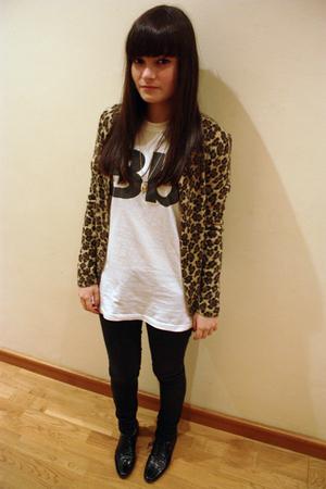beige BLANCO cardigan - white American Apparel t-shirt - black Zara jeans - blac