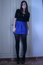 black Zara top - blue BLANCO skirt - black tights - black Zara shoes