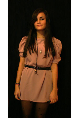 pink H&amp;M dress - black vintage belt - black Dorothy Perkins tights