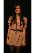 pink H&M dress - black vintage belt - black Dorothy Perkins tights
