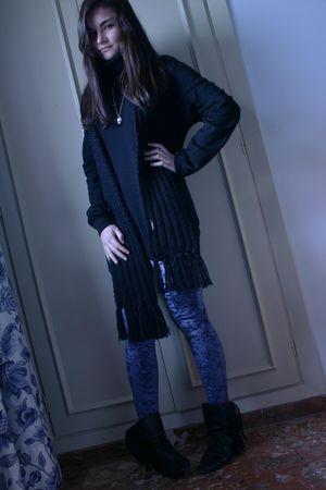 black fun&basics scarf - black H&M sweater - blue Topshop leggings - black Zara