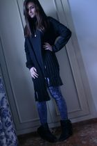 black fun&basics scarf - black H&M sweater - blue Topshop leggings - black Zara