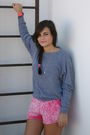 Gray-american-apparel-jumper-pink-american-apparel-shorts-pink-casio-accesso