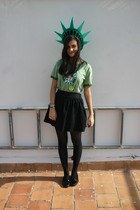 American Apparel t-shirt - Topshop skirt - tights - shoes - SIX accessories