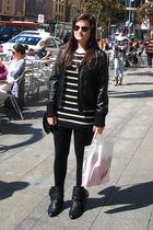 black sunglasses - black Mango jacket - black Zara top - black Primark leggings