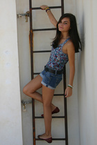 blue Zara top - silver SIX accessories - black vintage belt - blue Mango shorts