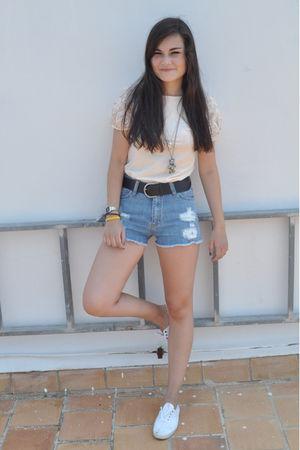 pink Mango top - blue Mango shorts - white vICTORIA shoes - silver portobello ma