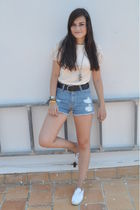 pink Mango top - blue Mango shorts - white vICTORIA shoes - silver portobello ma