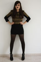 gold Topshop top - black H&M skirt - gold Topshop tights - black H&M shoes