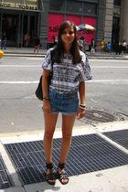 white American Apparel t-shirt - blue Zara shorts - black Topshop purse - black
