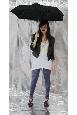 black pull&bear blazer - white pull&bear shirt - blue Topshop leggings - blue H&