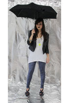 black pull&bear blazer - white pull&bear shirt - blue Topshop leggings - blue H&