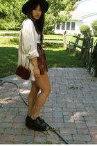 black Ebay shoes - black Ebay hat - beige thrifted shirt
