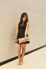 Black-skirt-hot-pink-bag-silver-necklace-beige-tabor-cream-wedges