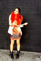 Zara scarf - leather All Saints boots - asos dress
