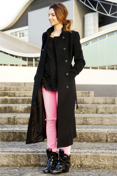 black MOS Copenhagen wedges - black Zara coat - bubble gum asoscom jeans