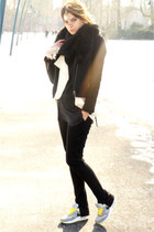 yellow nike sneakers - black Eleven Paris coat - black Zara sweater