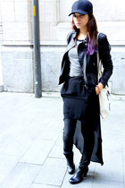 fishtail Zara skirt - Nelly White Label boots - Baseball cap hat - GioGoi jacket