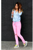 bubble gum pants - light blue H&M blouse - yellow nike sneakers