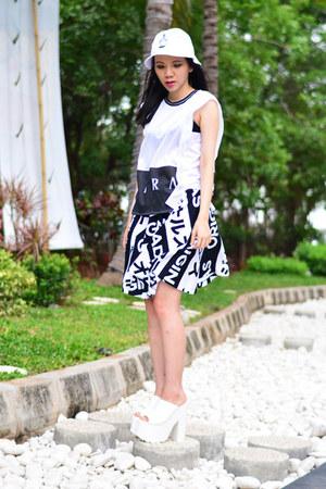 YRU shoes - 666Yen hat - PINX top - Adidas skirt