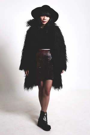 black BLCKHRT coat - UNIF shoes - black NIKICIO top - crimson Benash skirt