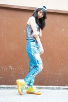 platform top - UNIF hat - platform pants - Adidas sneakers