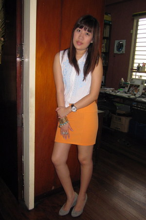 white Topshop top - carrot orange H&M skirt