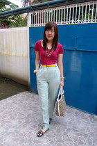 brown Suelas shoes - lime green American Apparel pants - hot pink Pull and Bear