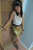 gold Glitterati skirt - black Aldo shoes - white Topshop top