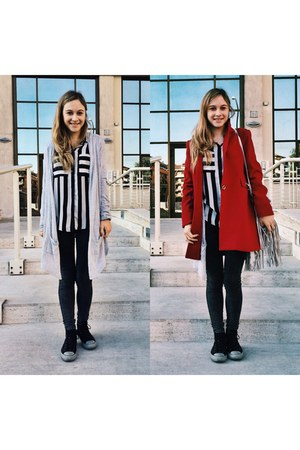 red coat - black Pimkie jeans - black Pimkie shirt - silver H&M bag