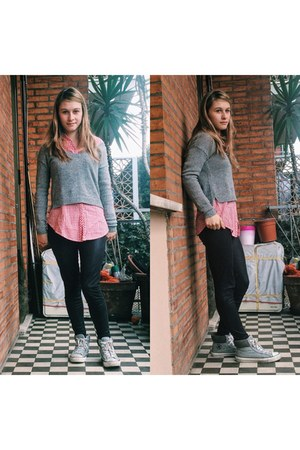 silver sweater - hot pink Pimkie shirt - silver Converse sneakers