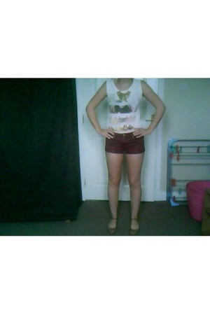 bronze bronze Primark necklace - brick red denim shorts Primark shorts