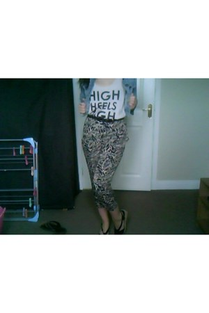 camel Peacocks pants - teal denim jacket Primark jacket - off white H&M top