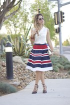 skirt - tan bag - crimson pumps - off white blouse