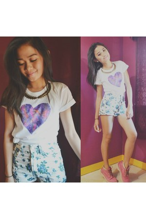 white galaxy shirt DIY shirt - hot pink Timberland boots - teal lotus shorts