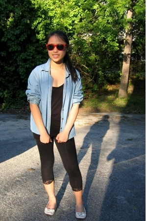 thrifted jacket - American Eagle t-shirt - leggings - shoes