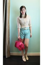 eggshell lace up oxfords Schu shoes - hot pink bag Prada bag - light blue floral