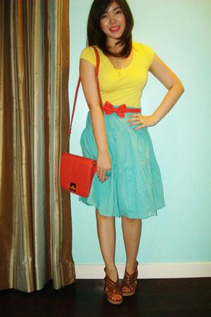 coral sling Dorothy Perkins bag - yellow tee Zara blouse - coral ribbon Dorothy