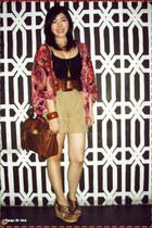 tawny alexa Mulberry bag - camel Mango shorts - coral cover up VANTANmanila card