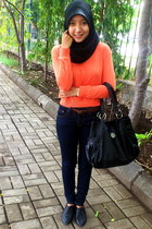 orange Graphis cardigan - black Nevada shoes - denim dust jeans