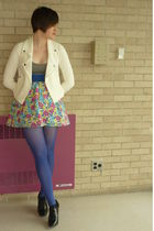 gray hollister dress - blue HUE tights - white Urban Outfitters jacket - black b