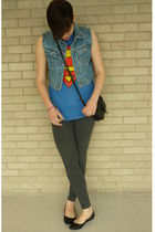 blue Value Village t-shirt - blue Value Village vest - black Aldo - gray Talula
