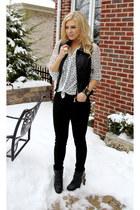 white stars Forever 21 blouse - black skinny joes jeans