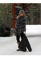 camel Sorel boots - black puffy ski northface jacket